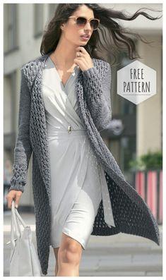 Kardigan z wzorem reliefowym 0 Knitting Patterns Free, Hand Knitting, Free Pattern, Long Cardigan, Knit Cardigan, Knitted Coat, How To Purl Knit, Mode Hijab, Knit Jacket