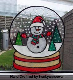 Snowman Snow Globe Static Window Cling