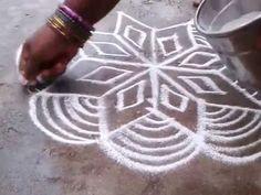 Rangoli with free hand lines kolam - YouTube