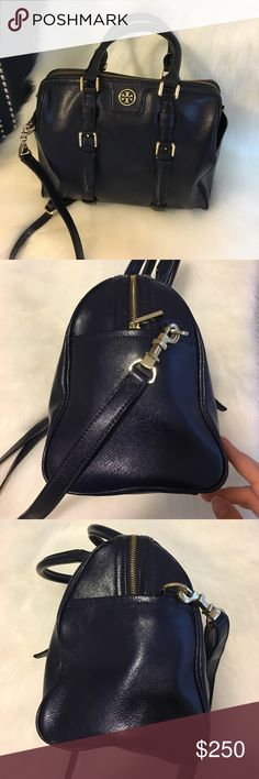 Tory Burch Navy Saffiano Satchel/Bowling Bag 👜✨ Discontinued item!! What a gem 😍✨ Gorgeous navy blue saffiano leather and gold metal! The bag has lost its shape over use but there's absolutely NO SCRATCHES! It's in a GREAT shape. Score this beauty TODAY 👜💝 Tory Burch Bags Satchels
