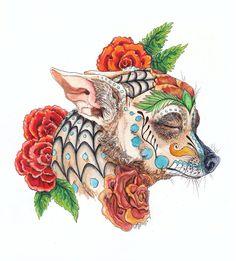 My chi, Topo Gigio :] watercolors, prismacolor colored pencils and markers, and micron Chihuahua De Los Muertos Chihuahua Tattoo, Chihuahua Art, Chihuahua Mexico, Chihuahua Drawing, Sugar Skull Tattoos, Sugar Skull Art, Sugar Skulls, Candy Skulls, Dachshund