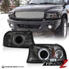 97-04 Dodge DAKOTA 98-03 DURANGO L+R Halo Projector Smoke Headlight Lamps #VIPMOTOZ