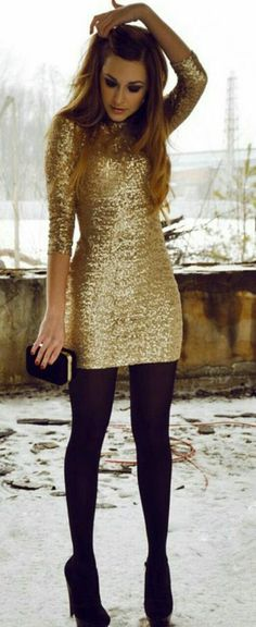 dress gold sequins shoes gold sparkle cocktail dress new year's eve cute sparkle lovely sequin dress gold black gold winter party dress gold dress sparkling dress black shoes black high heels bodycon party dress short party dresses good dresses winter out Winter Dress Outfits, Holiday Outfits, Night Outfits, Dress Winter, Winter Outfits, Winter Shoes, Holiday Dresses, Nye Outfits, Winter Sneakers