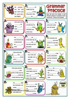 Review of the verb to have got for beginners. The worksheet also revises the parts of the body using different pictures of monsters in order to draw the attention of my students. Key provided. - ESL worksheets