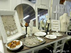Wonderful setup by http://www.mysocalledjunkylife.com/2012/03/bottoms-up-antique-booth-pictures-april.html