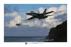 "Pacific Victory Roll - Aviation Art - ""Hornets Nest"". RAAF F/A-18B Hornets."