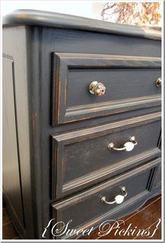 black dresser-Like the knobs on top
