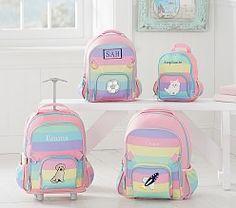 Fairfax Rolling Backpack Rainbow Multi w/ Aqua Trim Hibiscus Striped Backpack, Small Backpack, Mini Backpack, Cute Backpacks, Girl Backpacks, Girls Rolling Backpack, Kitty Backpack, Pusheen Backpack, Kids Luggage