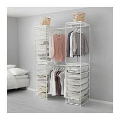 IKEA - ALGOT, Rahmen+Stange/Netzdrahtkörbe/Deckpl, Die Teile der ALGOT Serie lassen sich vielseitig kombinieren und können so dem Bedarf und dem vorhandenen Platz angepasst werden.Aus ALGOT Rahmen ergänzt mit Körben der gleichen Serie entsteht eine Aufbewahrungskombination, die überall im Haus passt.Auch für Badezimmer und andere Feuchträume im Haus geeignet.Steht dank höhenverstellbarer Fußkappen auch auf unebenen Böden stabil.Leicht gleitend, mit Ausziehsperre versehen.