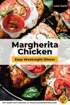 For this easy chicken recipe I used my favorite pizza toppings to top chicken breasts for a main meal that you can enjoy any night of the week. Margherita Chicken is low-carb, easy to make and you only need a handful of ingredients. #margheritachicken #chickenbreasts #weeknightdinner #lowcarb #easychickendinner Italian Chicken Recipes, Low Carb Chicken Recipes, Baked Chicken Breast, Chicken Breasts, Chicken Appetizers, Healthy Chicken Dinner, Yum Yum Chicken, Dinner Recipes, Easy Meals