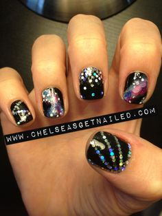 Galaxy and glitter nails