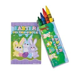 Mini Easter Coloring Books and Crayons- 12 Sets by toyco. $5.99. 12 sets per order. each individually sealed set includes a small 3.5 inch coloring book with 20 pages and a box of 4 crayons. easter stationary sets - 12