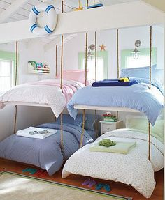 Hanging bed swings- Seems like an awesome idea. and a bad idea all at the same time. Would one person tossing and turning make the bed swing and thus disrupt the other person? I recommend the top bed! Cool Bunk Beds, Kids Bunk Beds, Kids Bedroom, Bedroom Decor, Kids Rooms, Bedroom Ideas, Bedroom Bed, Lego Bedroom, Childrens Bedroom