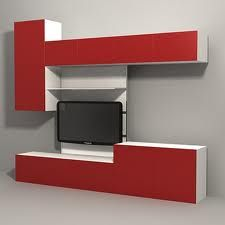 Bedroom media and storage-not red and all wall mounted