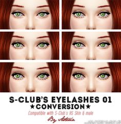 My Sims 4 Blog: S-Club Eyelashes Re-Categorized as Eyeliner by Ast...