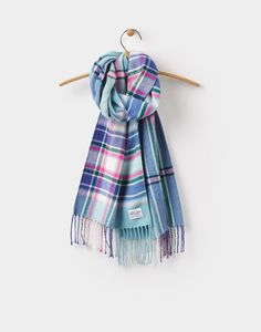 Bracken Soft Teal Check Woven Scarf , Size One Size   Joules US