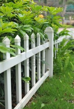 This white picket fence looks short which may be ideal for keeping the little dogs in