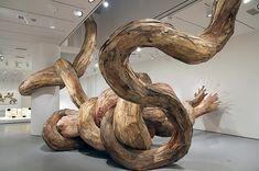 wood sculptures by Henrique Oliveira http://inhabitat.com/henrique-oliveiras-powerful-recycled-wood-tridimensional-sculptures-burst-through-gallery-walls/henrique-oliveira5/?extend=1