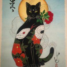 "11.4k Likes, 95 Comments - HORITOMO (@horitomo_stateofgrace) on Instagram: ""Hakuja monmon cat Prints are available  www.monmoncats.com • • • • • •…"""