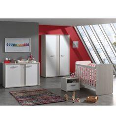 Superbe chambre à coucher complète pour enfant coloris chêne beige et blanc, composée d'un lit évolutif, d'un chevet à 1 tiroir et 1 niche , d'une commode la...