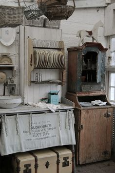 rustic french farmhouse kitchens   Old Kitchen   Kitchen Building. Burlap feed sack instead,