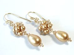 Swarovski Pearl Earrings Gold Earrings Beaded by IrisElmJewelry,