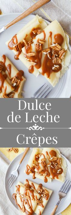 Homemade crepes made from scratch and filled with dulce de leche sauce. Easy dessert for two