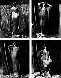Model in four different Fortuny designs, photographed by Mariano Fortuny in the Palazzo Orfei.