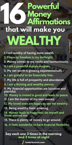 Powerful Money Affirmations that will make you wealthy These affirmations will destroy your mental blockages for money and make you wealthy in the process.These affirmations will destroy your mental blockages for money and make you wealthy in the process. Positive Affirmations Quotes, Wealth Affirmations, Morning Affirmations, Affirmation Quotes, Gratitude Quotes, Quotes Positive, Positive Thoughts, Happiness Quotes, Affirmations For Money