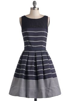 Promoting Elegance Dress in Navy - Sheer, Knit, Woven, Mid-length, Blue, White, Polka Dots, Cutout, Pleats, Party, Fit & Flare, Sleeveless, ...