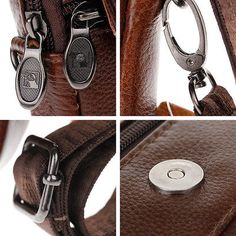 New  Mens Womens Shoulder Bag  Brown Genuine Leather Casual Small Bag Gift