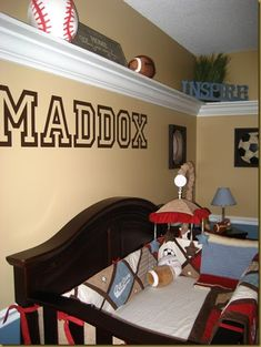 This is Maddox's Sports Inspirational Nursery. The pictures shown here are from his nursery before Maddox was born…so some things have chan...