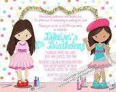 Glamour Invitation  - Glam Spa invitation - DIY PRINT -  Make Up - Pink, Aqua, Teal, White, Gold Glitter