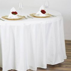 """108"""" IVORY Wholesale Polyester Round Tablecloth - Plan as many events as you want and invite as many guest as you desire without even worrying about the expenses and your budget. With our sturdy and economical polyester tablecloths, you can now transform any dining experience into a magnificent feast with an upscale feel and an elite look without breaking the banks. Get inspired by this premium quality polyester tablecloth that opens the gates of creativity and ingenuity. With such a high…"""