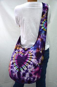 The Heart Tie Dye Large Hobo Boho Cross Body Bag by Dollypun, $9.99