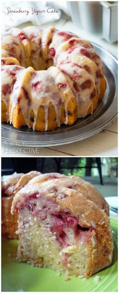 The most amazing Fresh Strawberry Yogurt Cake you will ever taste! @spicyperspectiv