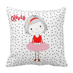 A fun throw pillow for little girls with a cute picture of a little girl in her tutu ready to dance. You can change the name in the image to the name of your own daughter. Fun!