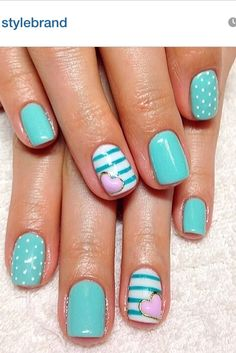 Gel nails #nailart #turquoise Discover and share your nail design ideas on www.popmiss.com/nail-designs/
