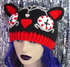 8932b401e1e Items similar to Red   Black Cat Hat Spooky Spider Web Kitty Beanie Gothic Cat  Ear Hat Halloween Pussy Hat Crochet Cat Hat Girls Punk Beanie Womens Black  ...