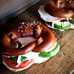 home made pretze sandwich