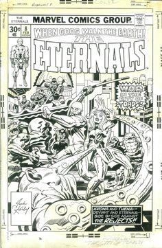 Cover art for Eternals by Jack Kirby Marvel Comics Superheroes, Marvel Comic Books, Marvel Art, Comic Books Art, Comic Book Pages, Comic Book Artists, Comic Artist, Black And White Comics, Black White