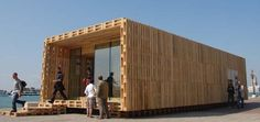 Sustainable Architecture, Sustainable Design, Building Architecture, Contemporary Architecture, Pallet Building, Building Ideas, Pallet House, Shipping Pallets, Affordable Housing