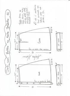 Esquema de modelagem de saia evasê com botões tamanho 42.