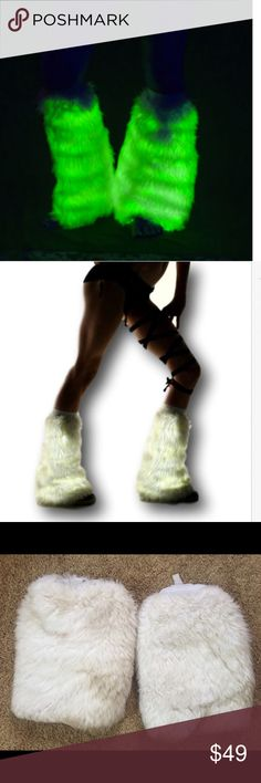 Light Up Fluffies LED leg warmer boot cover rave Glowing Fluffies! Perfect for your next music festival rave or burning man ! These were worn a couple times so there is some dirt mostly along the bottom where you can't see but when wearing in the dark no one can see it and they look amazing! Comes w/ 9 volt batteries in pouches inside each one. Good quality not the cheap ones. Measures about 16 inches with elastic secure band at top Tags: rave edc edm boot covers dollskill iheartraves ocean…