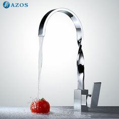 Kitchen Sink Faucets Free Waterfall Hose Spray Single Handle Chrome Polished Brass Deck Mounted Wash Mixers Furnitures CFLT026