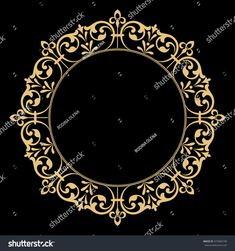Decorative line art frame for design template. Elegant vector element in Eastern style, place for text. Golden outline floral border. Lace illustration for invitations and greeting cards