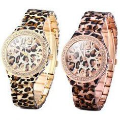 Geneva Female Leopard Print Quartz Watch Diamond Round Dial Stainless Steel Watchband