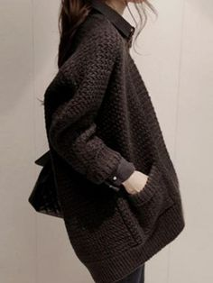 Black Loose Open-front Cardigan | Persunmall