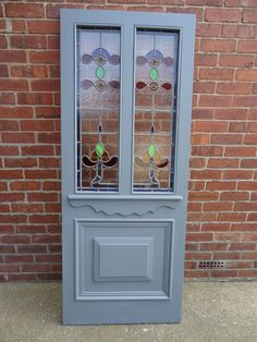 VICTORIAN EXTERNAL DOOR WITH ORIGINAL STAINED GLASS.DN22 Area Mosaic Glass, Fused Glass, External Doors, Antique Doors, Stained Glass Patterns, Violets, Front Doors, Cut Glass, Mosaics