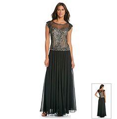 Mother-of-the-Bride Dress | J Kara® Long Illusion Beaded Bodice Dress available at @Bon-Ton.